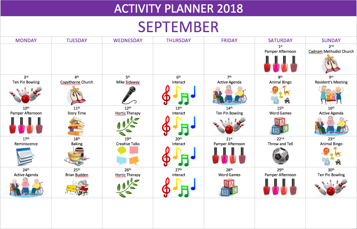 activity planner forest edge care home
