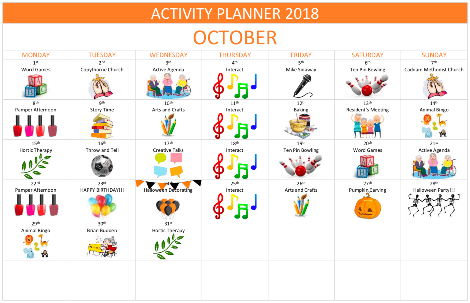 october activity planner forest edge care home